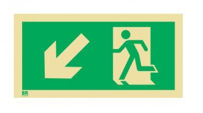 Placa Saída de Emergência Desce Esquerda S7 20X40cm Fotoluminescente