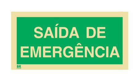 Placa Saída de Emergência 20x40cm Fotoluminescente