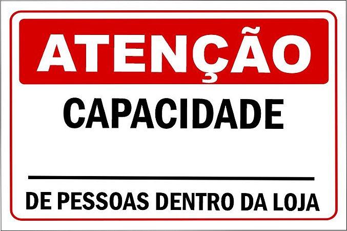 PLACA COVID-19 CAPACIDADE DE PESSOAS DENTRO DA LOJA 20x30cm