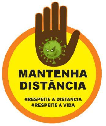 Adesivo de Piso Covid-19 MANTENHA DISTÂNCIA 20X20cm