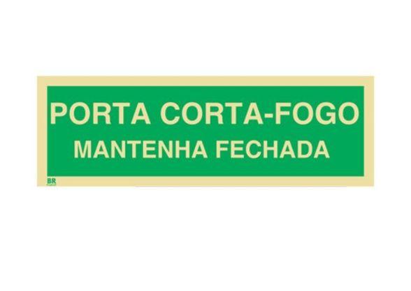 Placa Porta Corta-Fogo Mantenha Fechada M4 12X24cm Fotoluminescente