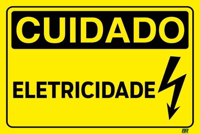 Placa Branca Cuidado Eletricidade 20x30cm