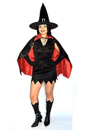 Kit Halloween Capa Dupla Face Curta, Chapéu Feltro e Luvas