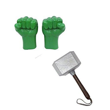 Kit Vingadores Luvas Hulk Martelo Thor Ultimato