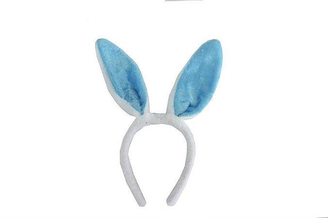 Tiara de Coelho Branco com Azul