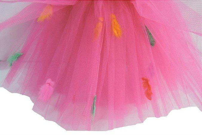 Saia de Tule Com Pena Pink Infantil