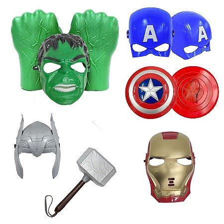 Kit Luva Hulk Martelo Thor Escudo Capitão America E Mascaras