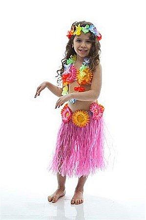 Fantasia Havaiana Rosa Infantil