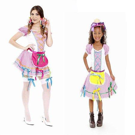 Vestido Festa Junina Tal Mãe Tal filha Rosa