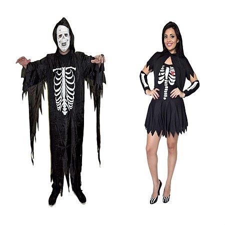 Fantasia Caveira Esqueleto Casal Adulto