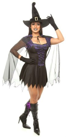 Fantasia Bruxa Adulto Morcego - ( Kit 4 peças )