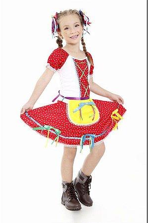 Vestido Festa Junina Florista Vermelho Infantil