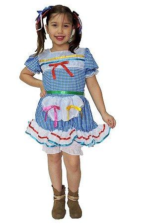 Vestido Junino Infantil Xadrez Azul com Branco