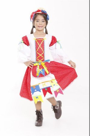 Vestido Caipirona Infantil Vermelho