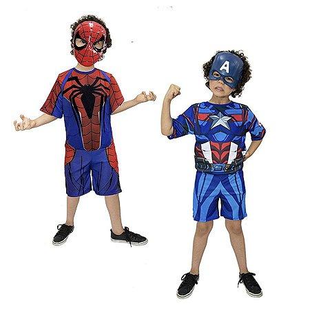 Fantasia Homem Aranha e Capitão America Infantil - Kit 2 Fantasias