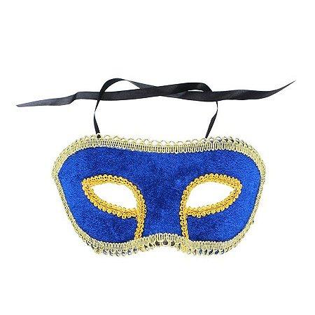 Mascara Carnaval Veludo Azul