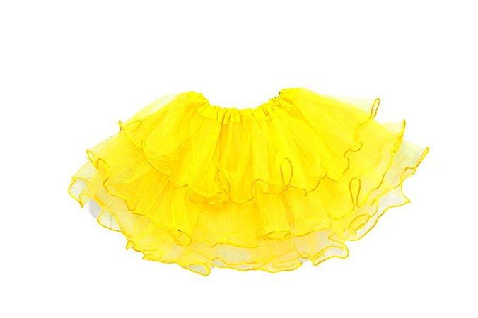 Saia de Tule Simples Amarelo Infantil