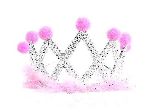 Coroa com plumas e bolinhas prata e rosa