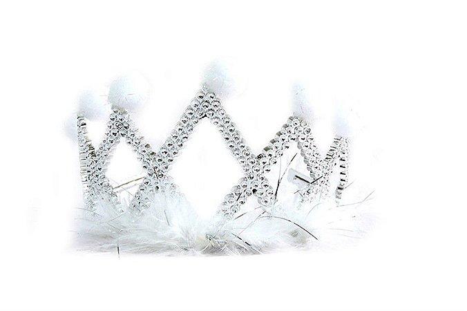 Coroa com plumas e bolinhas prata e branca