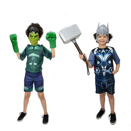 Fantasia Hulk C/ Luvas E Thor C/martelo + Mascaras Infantil