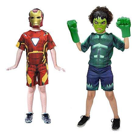 Fantasia Hulk C/ Luvas E Homem De Ferro Mascaras Infantil