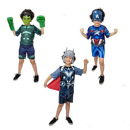 Fantasia Hulk C/ Luvas, Capitão America e Thor