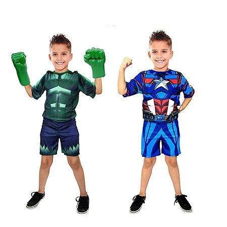 Fantasia Hulk C/ Luvas E Capitão America Meninos Infantil
