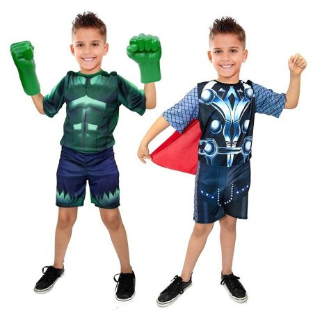 Fantasia Hulk C/ Luvas Thor Vingadores Infantil
