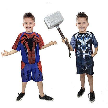 Fantasia Thor C/ Martelo Homem Aranha Meninos Infantil