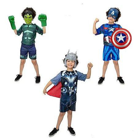 Fantasia Hulk C/ Luvas, Capitão America C/ Escudo, Thor Inf