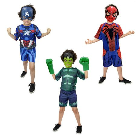 Fantasia Hulk C/ Luvas, Capitão America, Homem Aranha