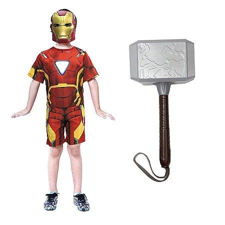 Fantasia Homem De Ferro Com Mascara E Martelo Thor