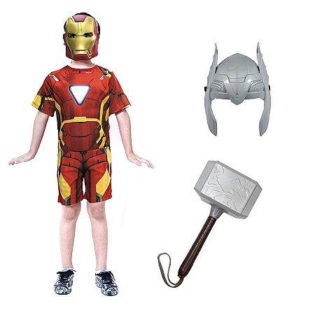 Fantasia Homem De Ferro C/ Martelo Thor E Mascaras