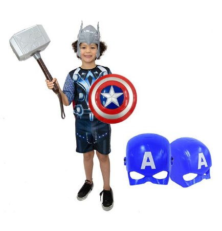 Fantasia Thor Infantil Com Martelo E 2 Mascaras E Escudo