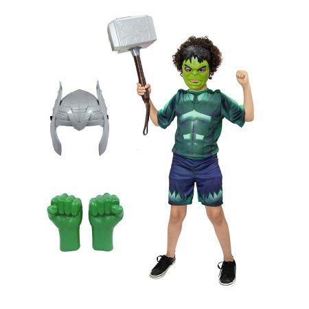 Fantasia Hulk Com Luvas E 2 Mascaras E Martelo Thor Vingadores