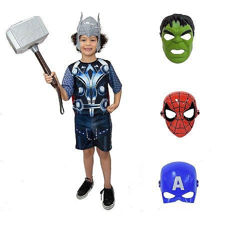 Fantasia Thor Com Martelo E Kit 4 Mascaras Avengers Ultimato