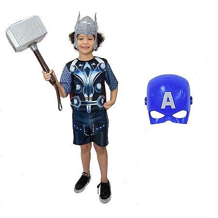 Fantasia Thor Com Martelo E 2 Mascaras Vingadores Ultimato