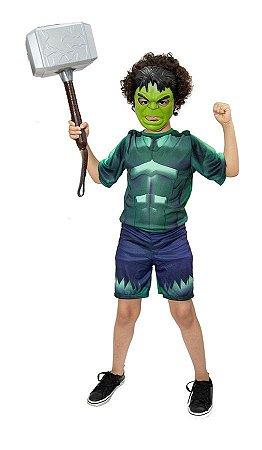 Fantasia Hulk Com Martelo Thor E 2 Mascaras Vingadores