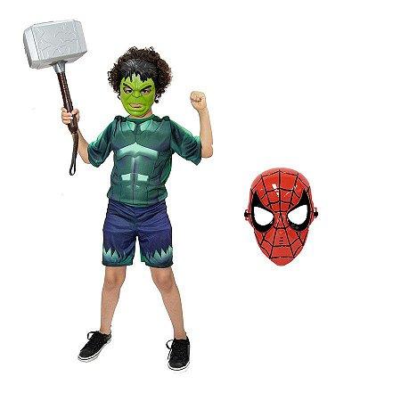 Fantasia Hulk Com Martelo Thor E 2 Mascaras Vingadores Heroi