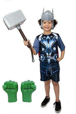 Fantasia Thor Com Martelo E Luvas Hulk Vingadores Ultimato