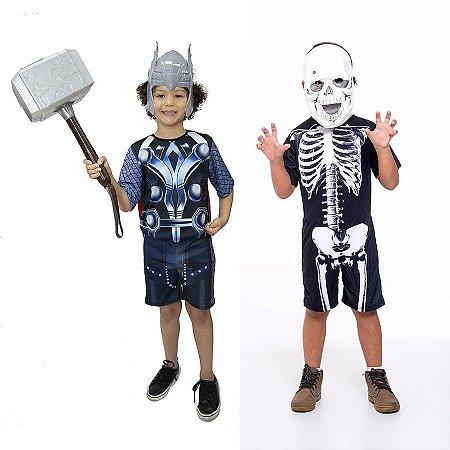 Fantasia Thor Infantil C/ Martelo E Esqueleto Halloween