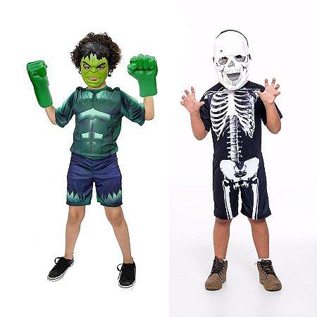 Fantasia Hulk Com Luvas E Esqueleto Halloween Infantil