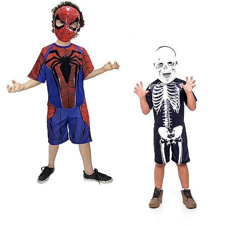 Fantasia Homem Aranha E Esqueleto Halloween Infantil