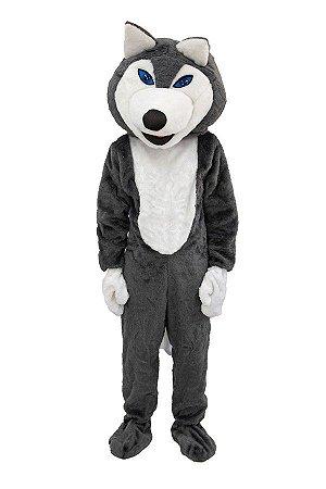 Fantasia Mascote Cachorro Cinza Adulto Pelúcia