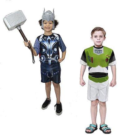 Fantasia Thor Infantil C/ Martelo + Mascara E Buzz Lightyer