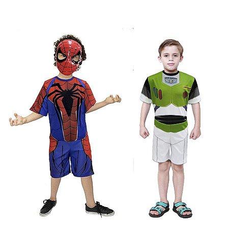 Fantasia Homem Aranha Com Mascara E Buzz Lightyer Infantil