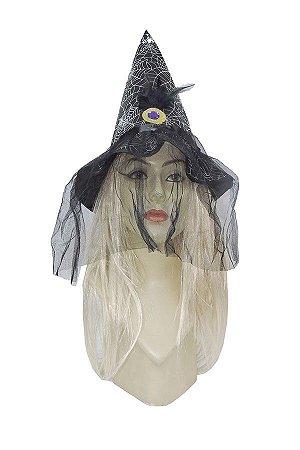 Chapéu de   Bruxa  com Véu Aba Curta