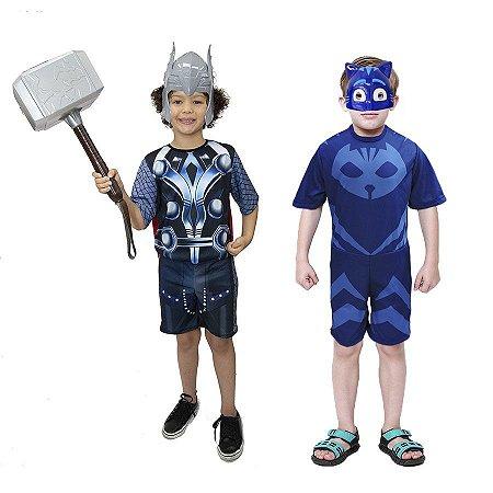 Fantasia Thor Infantil C/ Martelo E Menino Gato 2 Mascaras