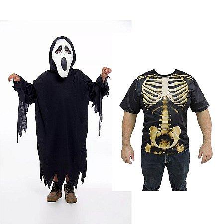 Fantasia Panico Infantil E Camiseta Caveira Adulto Halloween
