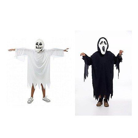 Fantasia Fantasma E Panico Infantil Halloween C/ 2 Mascaras